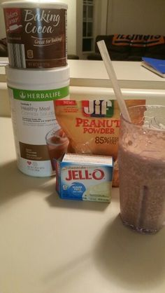 Herbalife Reece's Cheesecake Shake 8 oz skim milk and ice blended with 2 scoops dutch chocolate F1 Tsp cocoa powder 2 tbsp PB2 Tbsp cheesecake sugar free pudding mix