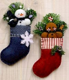 1900 Frosty and Ginger Stocking Ornaments - Countryside Crafts Pattern