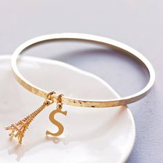 personalised hammered gold bangle by belle ami   notonthehighstreet.com