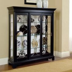 Oxford Black Mantel Curio Cabinet