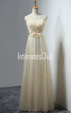 Champagne Scoop Neck A-Line Floor-Length Sleeveless Appliques Flowers Lace-Up  Long Prom Dresses d25f1319ba5c