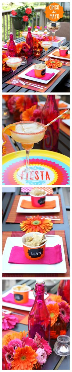 Cinco De Mayo Party Decor and Tablescape idea. These are beautiful, love the color palette, layout, & designs. Includes free printables too. :)