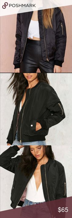 NWOT Nasty Gal Glamorous Black Bomber Jacket Recieved as a gift and in Florida I just don't use it! Brand New Never Worn! Pink Inside!  Tags: Misguided, Nasty Gal, Topshop, Asos, Showpo, LF Urban Outfitters, Anthropologie, American Apparel, Free People, Brandy Melville Nasty Gal Jackets & Coats
