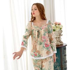 Pastoral Style Pajama Sets Long Sleeve Women Sleepwear Autumn Cotton Pajamas