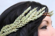 greek hair crown wheat headband floral crown by Willowandblossom