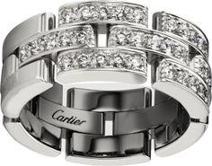 CRB4127200 - Maillon Panthère ring, 3 half diamond-paved rows - White gold, diamonds - Cartier