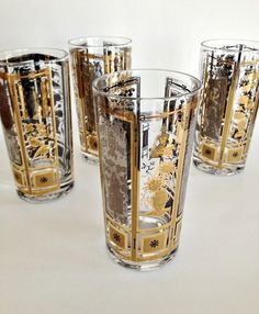 Mid Century Modern Beverage Gles In Gold And Silver Asian Motif Set Of 4 From