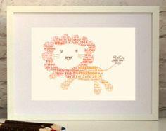 Lion    Nursery Decor Print  Personalised Custom Print perfect for a nursery, children\'s bedroom or playroom.    Custom made in England, ships worldwide from www.pepperdoodles... #nurserydecor #newbaby #Christening #babyshower