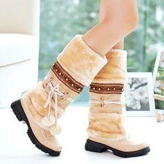 4dd8b723967 Women Winter Rhinestone Slip On Mid Calf Warm Knight Boots