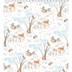 This playful collection, Woodland Gathering, is designed by Betsy Olmsted for Clothworks Organic Fabric offerings. This particular fabric has playful woodland animals and trees all over a white background. The deer is about 2 inches wide. Deer Fabric, Woodland Fabric, Baby Fabric, Nursery Fabric, Woodland Creatures, Woodland Animals, Owl Pet, Blue Forest, Fabric Animals