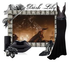 """""""Dark Lily from Legend(1985)"""" by laniocracy ❤ liked on Polyvore featuring Olivia Riegel, NARS Cosmetics, Lulu Guinness, Oscar de la Renta, Colette Malouf, Alexandre Vauthier, Ender Legard and Lanvin"""
