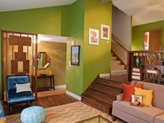 Green Living Room With Midcentury Modern Accents