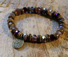 Hamsa, Hand Der Fatima, Swarovski, Bronze, Purple Lilac, Coconut, Etsy Shop, Bracelets, Jewelry