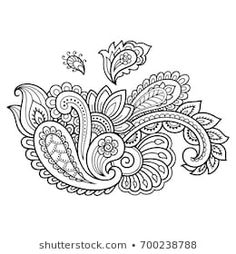 Similar Images, Stock Photos & Vectors of Mehndi flower pattern for Henna drawing and tattoo. Decoration in ethnic oriental, Indian style. Henna Designs Easy, Henna Tattoo Designs, Mehndi Designs, Estilo Mehndi, Henna Mandala, Mandala Drawing, Mandala Tattoo, Celtic Tattoo Family, Paisley Doodle
