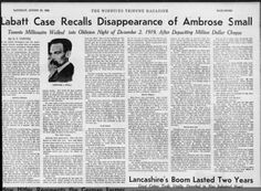 James Cowan Disappearance of Millionaire Ambrose Small Wiinipeg Tribune Aug 25 1934 Canadian History, Genealogy, Songs, Family History, Music