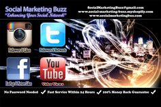 Want more Followers on Twitter or Instagram? How about Youtube views, Instagram and Facebook Likes? We provide it all. Visit www.Social-Marketing-Buzz.myshopify.com to gain more exposure to your social network for the cheapest prices and fastest service!