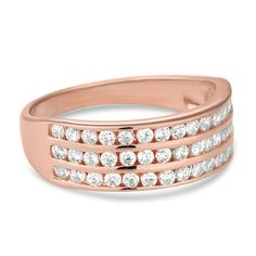 Simply Silver Rose gold cubic zirconia triple row band ring