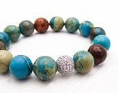 Blue Jasper Sterling Pave Bead Bracelet / Silver CZ Snakeskin Jasper, blue, brown, mahogany, earth tones / Bright Colorful Stacking Bracele
