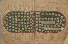 """Carte de laMéditerranée: livre2, Chapitre 10: """"Sur la mer de l'Ouest, c'est la mer de Syrie, ses ports, îles et mouillages""""   tiré du « Kitāb Gharā'ib al-funūn wa-mula' al-'uyūn » Egypte, anonyme, 11eme siècle(MS. Arab. c. 90, fols. 30b-31a). Bodleian Library."""