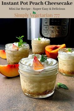 Learn how to make Mini Peach Cheesecake in Instant Pot. It is a super delicious and easy dessert to make. #instantpotrecipes #instantpotdessert #cheesecake #minicheesecake #easydesserts #peachcake #peachcheesecake Easy To Make Desserts, Delicious Desserts, Dessert Recipes, Yummy Food, Jar Recipes, Family Recipes, Kitchen Recipes, Dessert Ideas, Peach Cheesecake