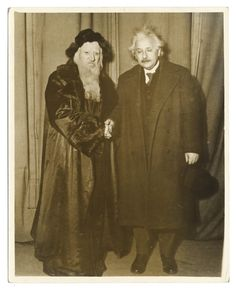 Albert Einstein with Maurice Schwartz posing in costume for Yoshe Kalb. Rappoport Studios, New York, 1932-33.