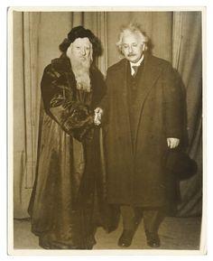 Albert Einstein with Maurice Schwartz posing in costume for Yoshe Kalb. Rappoport Studios, New York, 1932-33.