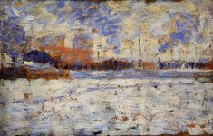 George Seurat (French, 1859-1891) - 	  Snow Effect: Winter in the Suburbs, 1882-1883