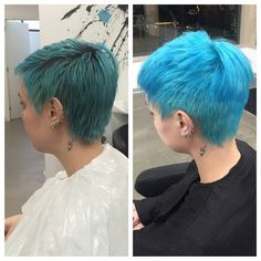 #nofilter Incredible transformation! With OLAPLEX we were able use bleach so that the turquoise had a better foundation and became a lot brighter. Olaplex and Manic Panic are a winner combination!!! #olaplex #manicpanic #olaplexportugal #transformation #atomicturquoise #bleach #slash #salon #lisbon #hair #shorthair #tattoo #healthy