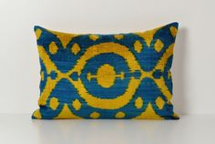 Silk Velvet Ikat Pillow  Navy Blue Yellow Soft by pillowme on Etsy, $65.00