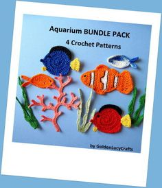 Aquarium Bundle Pack- 4 Crochet Appliques PATTERNS | YouCanMakeThis.com
