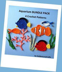crochet appliqué, bundl pack, sea creatures, aquarium, tropical fish, applique patterns, appliqu pattern, crochet patterns, crochet appliques