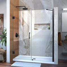 DreamLine Unidoor H x to W Frameless Hinged Satin Black Shower Door (Clear Glass) at Lowe's. The DreamLine Unidoor is a frameless swing shower door designed in step with modern market trends. The elegant design and an incredible range of sizes are Glass Design, Door Design, Frameless Shower Doors, Bathtub Doors, Bathtub With Glass Door, Modern Shower Doors, Black Shower, Custom Glass, Types Of Doors