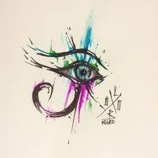 Resultado de imagem para horus tattoo watercolor