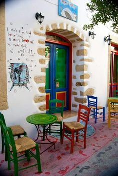 Traditional Café in Kimolos Island (Cyclades), Greece Beautiful Islands, Beautiful World, Beautiful Places, Patras, Greek Isles, Greece Islands, Greece Travel, Crete, Holiday Destinations