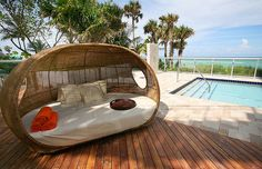 Outdoor shaded bed- relaxed looking at it.