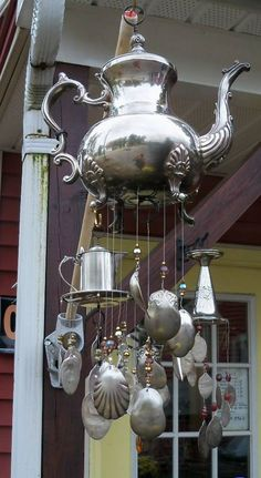 Wow! I may have to table my current #craft project and make this wind chime instead! I have the perfect silver pitcher!!! #crafting #gardenideas