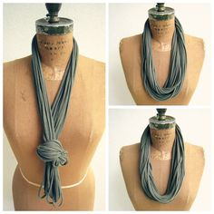 NEW...Olive Green T Shirt Necklace / Women / Girls / Upcycled by ohzie