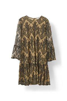 Larkin Lace Mini Dress, Tobacco Brown/Black