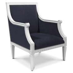 Our modern take on a classic. Navy linen and glossy white lacquer bring Louis into the 21st Century.