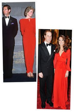 Princess Diana and Kate Middleton's Similar Style  Coordinating Couples  Kate Middleton and Prince William looked almost identical to his parents while attending a charity dinner for 100 Women in Hedge Funds at St James' Palace in 2011. The Duchess stunned in a red Belulah London gown.