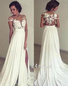 lace chiffon lace round neck long prom dress, evening dress: