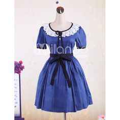 Blue Short Sleeves Lace Sash Cotton Sweet Lolita Dress ❤ liked on Polyvore