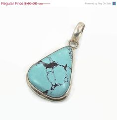 ON SALE #TurquoisePendant  #SterlingSilverPendant  by InVintageHeaven