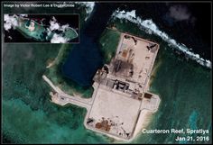 Cuarteron Reef, Spratlys, South China Sea: Satellite Image Update Located in the eastern London Reefs, Cuarteron is known as Calderon Reef in Filipino, Huayang Jiao 华阳礁 in Chinese, and đá Châu Viên in Vietnamese.