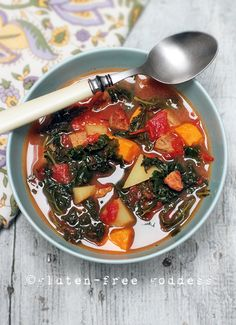 Spicy kale soup for Spring with chicken sausage, sweet potatoes and gold potatoes. #glutenfree