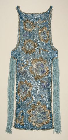 Evening Dress, House of Worth (French, 1858–1956): ca. 1924, French, cotton, plastic, glass.