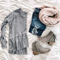 thermal peplum top and pink scarf click through for more details  | sunsetsandstilettos