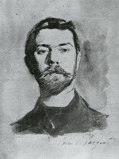 Sargent. Self-Portrait 1882. Pen, ink and wash on paper.