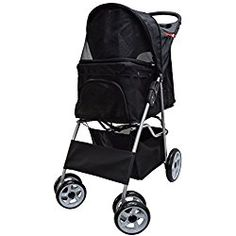 VIVO Four Wheel Pet Stroller, for Cat, Dog and More, Foldable Carrier Strolling Cart, Multiple Colors (Black)