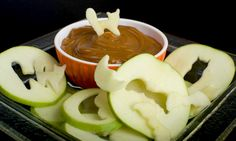 Halloween Apple Slices with Caramel Dip